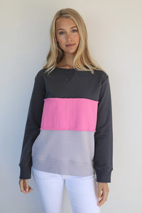 Frayed Stripe Windy- Coal/French Grey/Pink