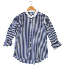 Load image into Gallery viewer, Irving & Powell Grandpa Collar Shirt - Navy/White