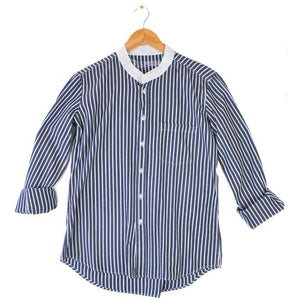 Irving & Powell Grandpa Collar Shirt - Navy/White