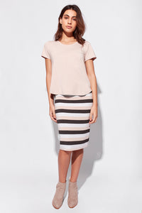 Midi Whitney Tube Skirt - Blush/Grey Marle/Charcoal Stripe