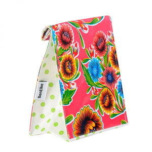 Mexican Oilcloth Lunch Bag - Pink Flower