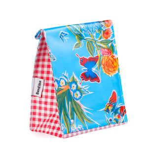 Mexican Oilcloth Lunch Bag - Blue Butterfly