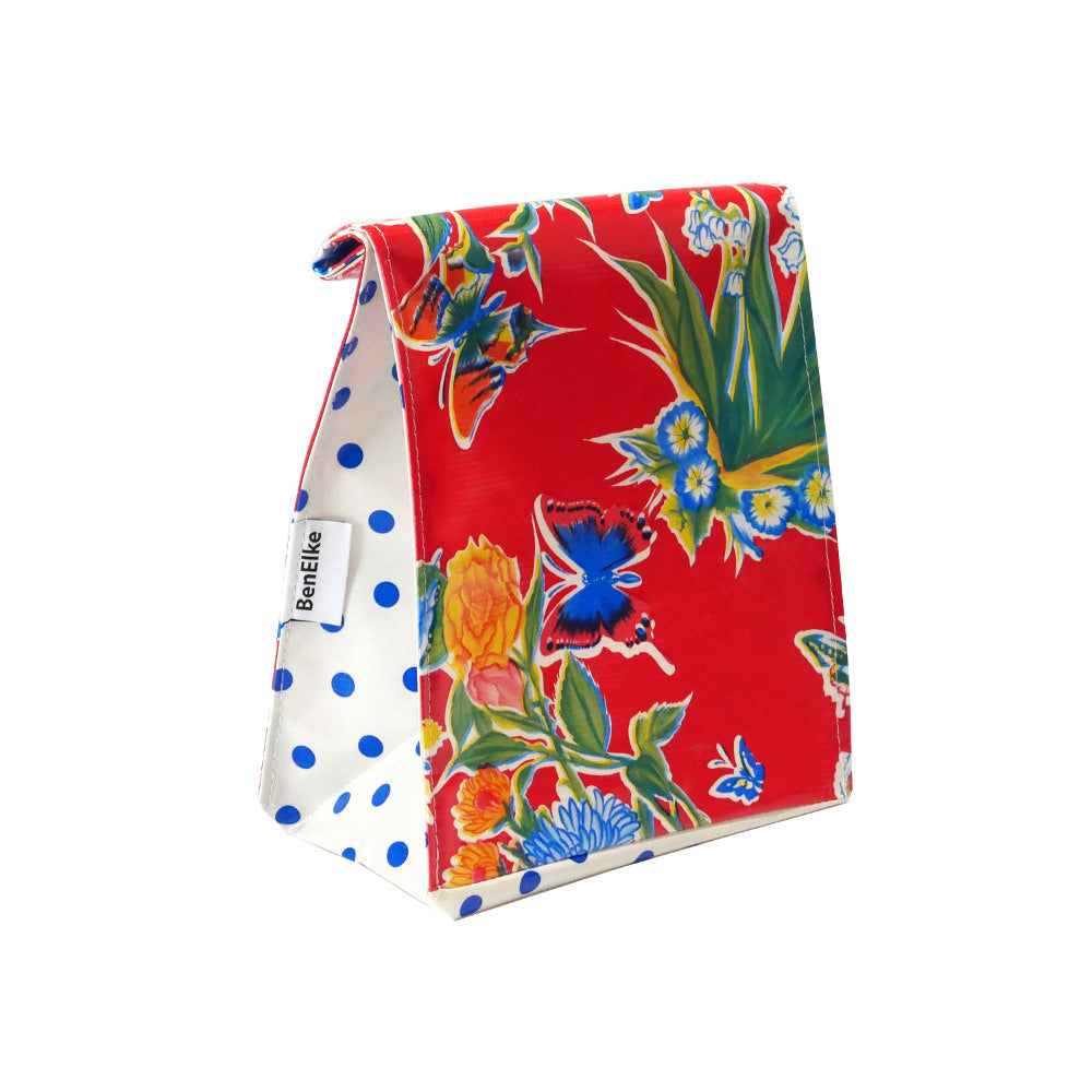 Mexican Oilcloth Lunch Bag - Red Flower