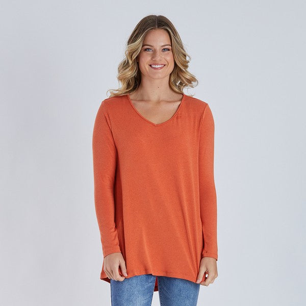 Threadz Longline V Neck Tee - Orange