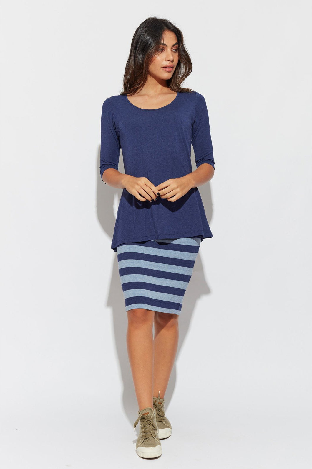 Midi Whitney Tube Skirt - Indigo/Denim Stripe