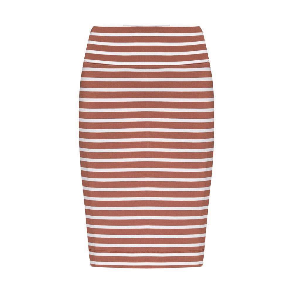 Midi Whitney Tube Skirt - Toffee/White Stripe