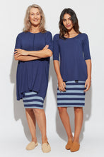 Load image into Gallery viewer, Midi Whitney Tube Skirt - Indigo/Denim Stripe