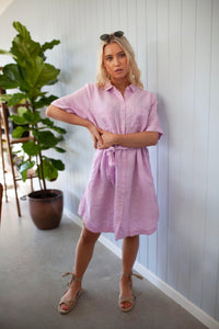 Linen Shirt Dress - Light Pink