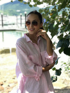 HUT Regular Fit Linen Shirt - Pink & White Gingham