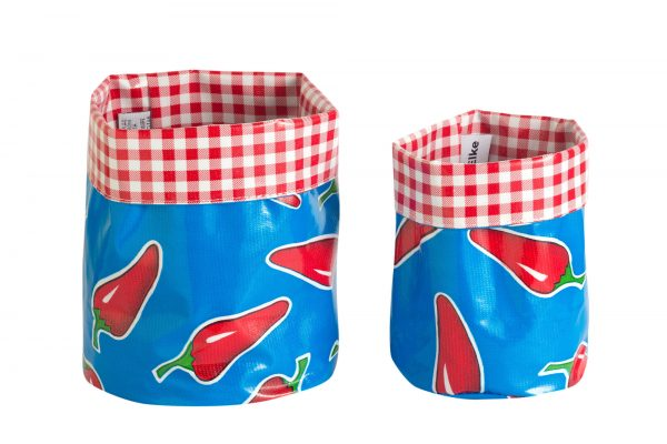 Mexican Oilcloth Nesting Pots - Blue