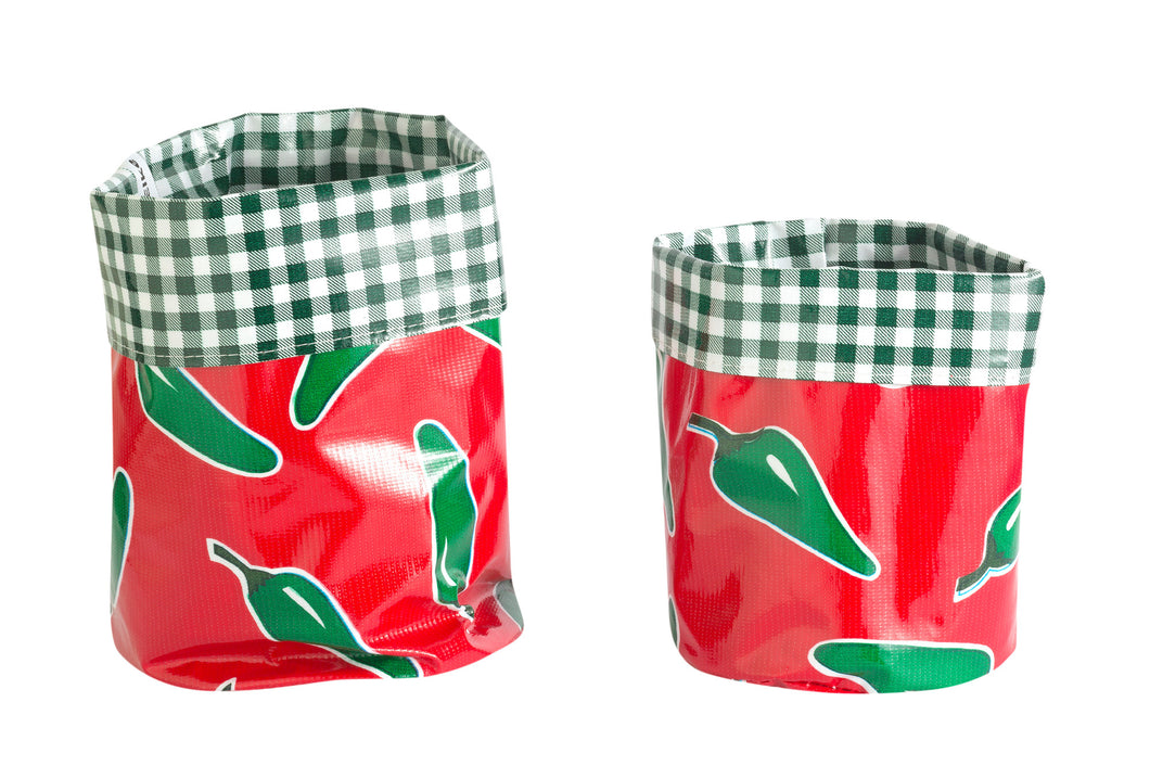 Mexican Oilcloth Nesting Pots - Red