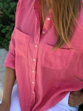 Load image into Gallery viewer, Vintage Rose Oversized Linen Shirt