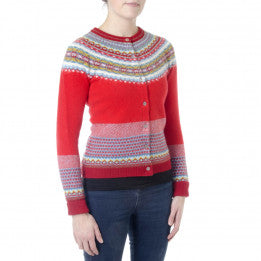 Eribe Scottish Merino Wool Cardigan -Red
