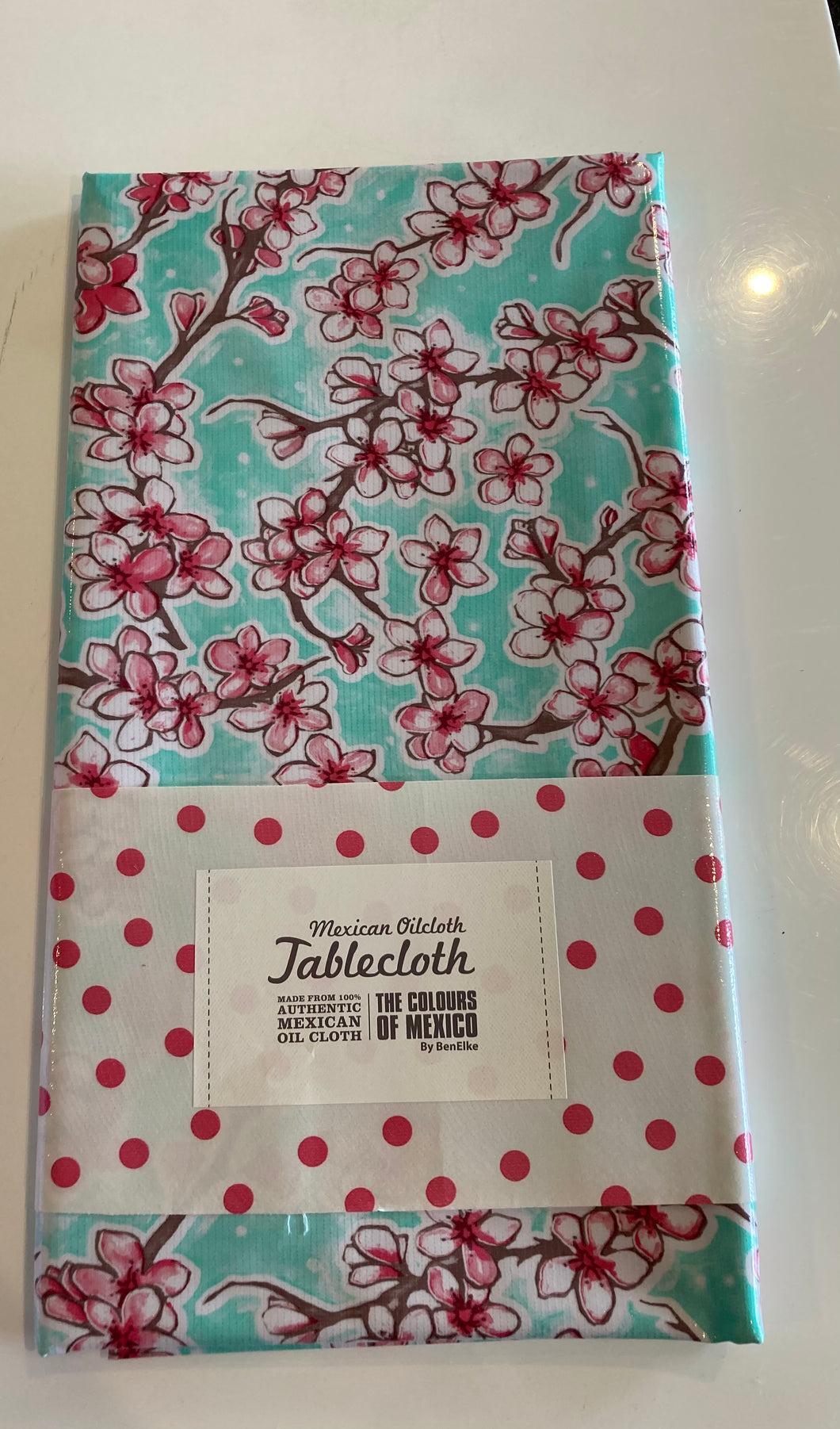 Mexican Oilcloth Tablecloth - Cherryblossom Mint