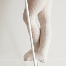Load image into Gallery viewer, Lamington Cable Wool Tights - Natural