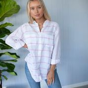 Load image into Gallery viewer, HUT Oversized Linen Shirt - Horizontal Stripe Pink