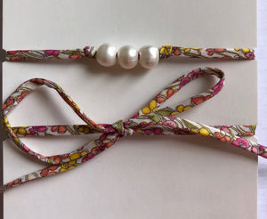Three Pearl & Liberty Necklace or Wrist Wrap - Jennie & Steve