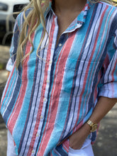 Load image into Gallery viewer, HUT Oversized Linen Shirt - Washed Multi Stripe