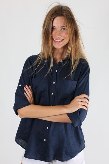 HUT Oversized Linen Shirt - Navy