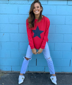Sophie Moran Zip Star Sweatshirt - Red/Navy