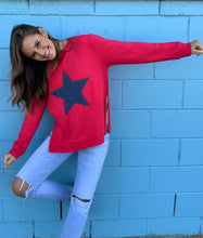 Load image into Gallery viewer, Sophie Moran Zip Star Sweatshirt - Red/Navy