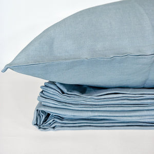 Pure French Linen Doona Cover Set - Smokey Blue