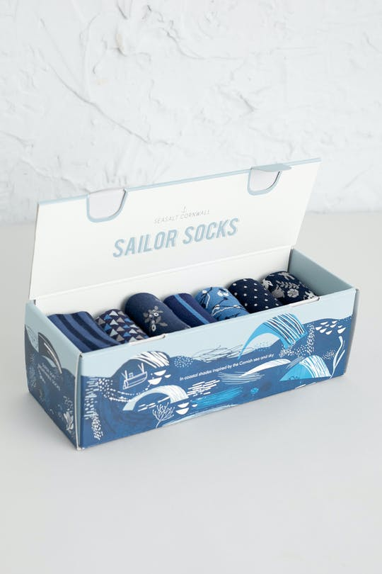Seasalt Cornwall - Boxed Set of Womens Socks Blue