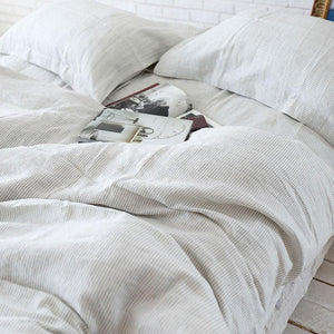 Pure French Linen Yarn Dyed Striped Doona Cover Set