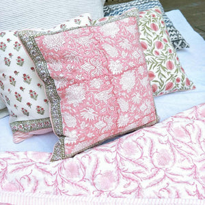 Block Print Feather Filled Cushions - Pinks