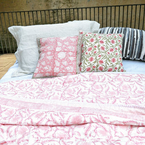 Hand block print Cotton Quilted Bedspread Coverlet