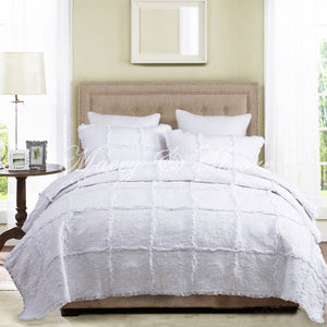 White 100% Cotton Bedspread Coverlet