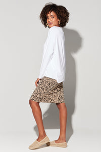 Midi Whitney Tube Skirt - Brown Lepoard