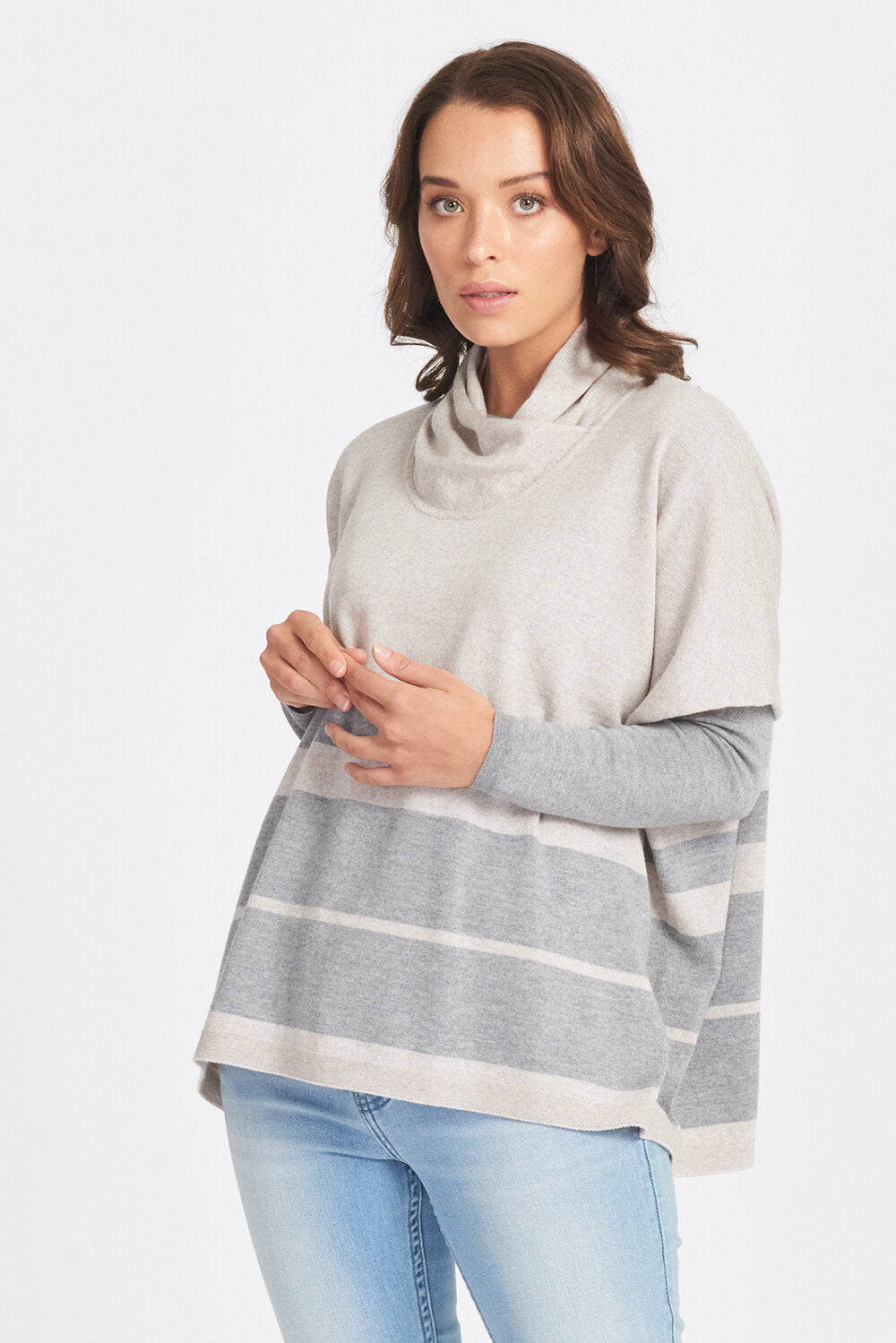 100% Superfine Oversized Stripe Jumper - Sand/Pewter