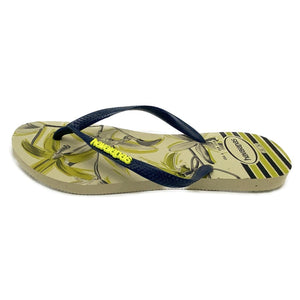 Havaianas Slim Tropical Beige Navy Blue - Flops Arena