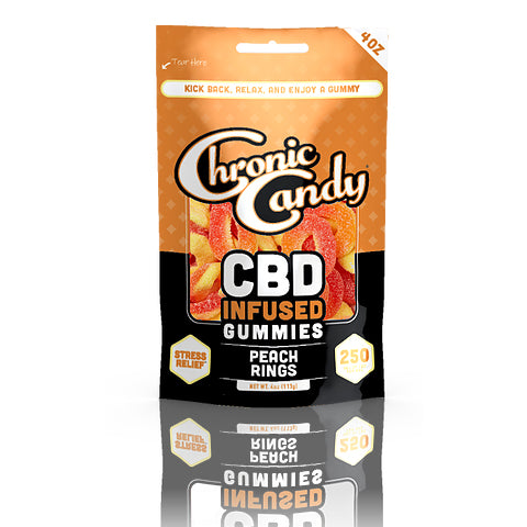 Chronic Candy Peach Rings Gummies Bag - 250mg 4oz