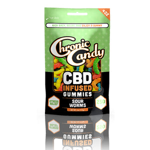 Chronic Candy Sour Worms Gummies Bag - 250mg 4oz
