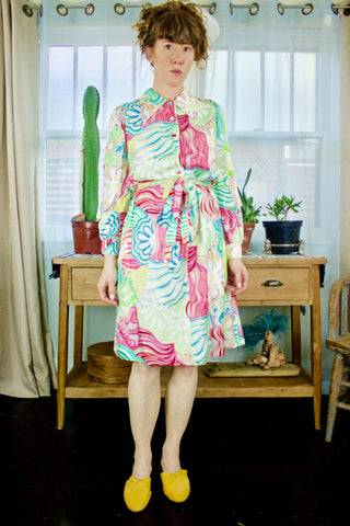 Colony Classics 1960s Neons Silk Dress          M