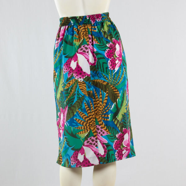 90s Leslie Fay Tropical Cheetah Faux Wrap Skirt       M