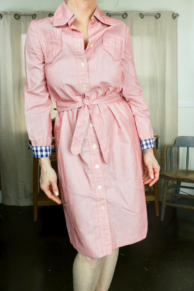 Jane Justin for Don Sophisticates 1970s Shirt Dress with Gingham Cuffs        M