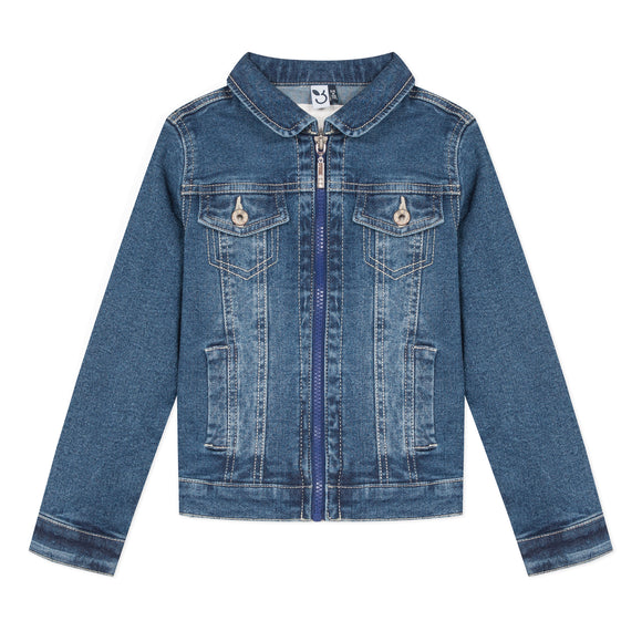 Zip Up Denim Jacket     3POMMES