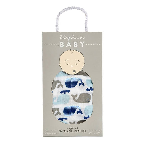 Whale Swaddle Blanket     STEPHAN BABY