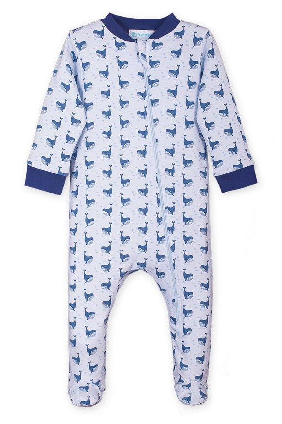 Whale Print Zip Footie            FEATHER BABAY