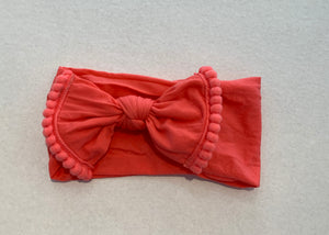 Pom Pom Stretchy Headband Coral