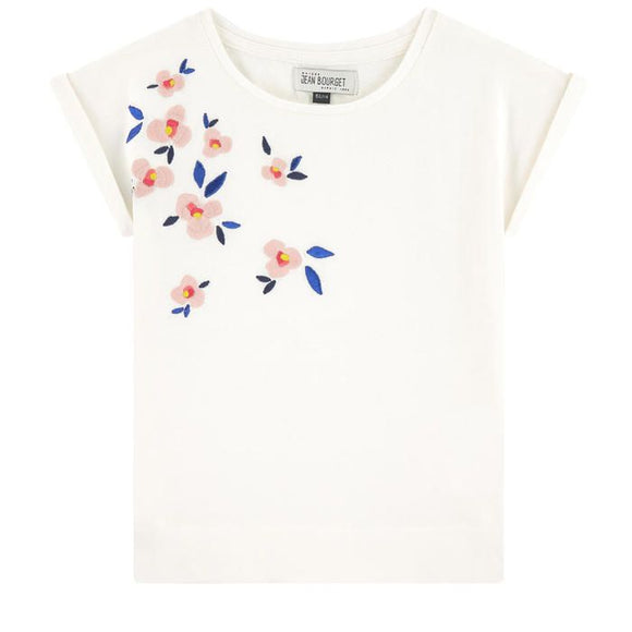 Embroidered Flower Top                        JEAN BOURGET
