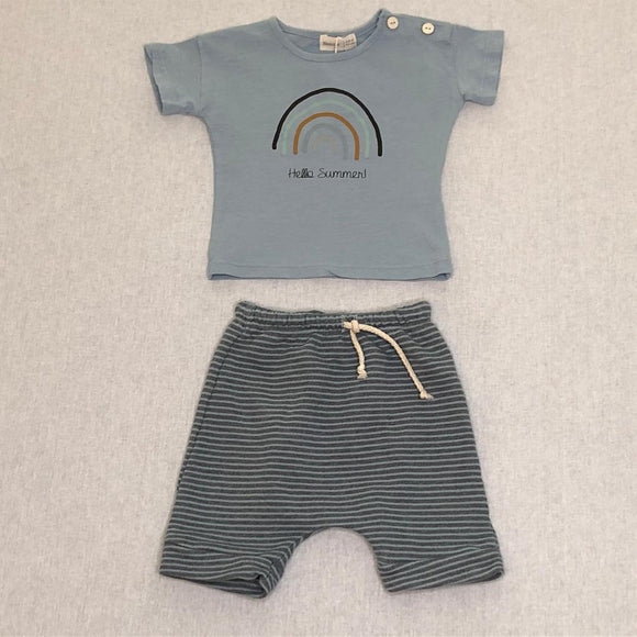 Organic Hello Summer Top and Stripe Short Set  BEANS BARCELONA
