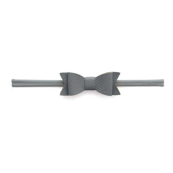 Leather Skinny Bow Headband in Dark Grey   BABY BLING