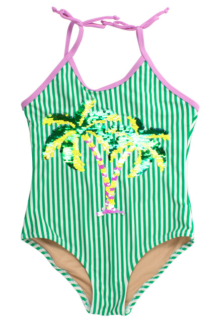 Stripe Palm Tree Flippy Swimsuit                SHADE CRITTERS