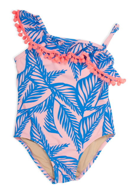 Ruffle Blue Palm Swimsuit                SHADE CRITTERS