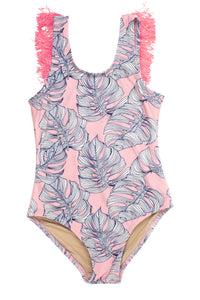 Pink Palm Fringe Swimsuit                 SHADE CRITTERS