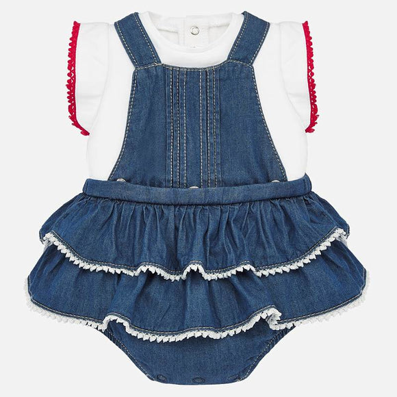 Denim Ruffle Romper Set   MAYORAL